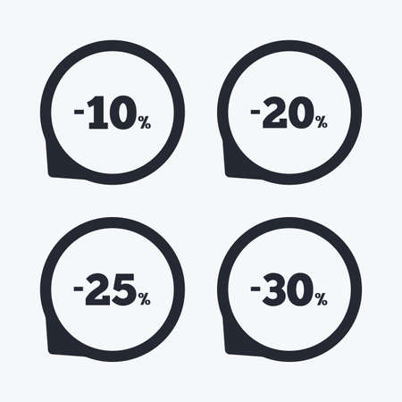 navigation buttons: Sale discount icons. Special offer price signs. 10, 20, 25 and 30 percent off reduction symbols. Flat icon pointers.