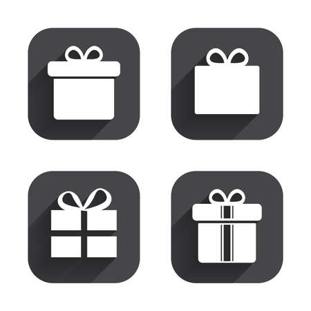 gift icon: Gift box sign icons. Present with bow and ribbons sign symbols. Square flat buttons with long shadow. Illustration