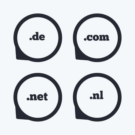 nl: Top-level internet domain icons. De, Com, Net and Nl symbols. Unique national DNS names. Flat icon pointers. Illustration