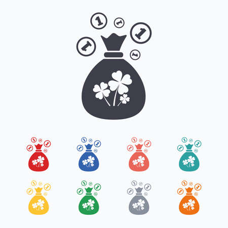 clovers: Money bag with Clovers and coins sign icon. Saint Patrick symbol. Colored flat icons on white background.