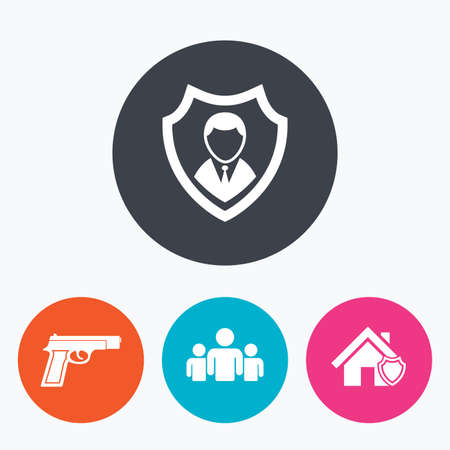 home group: Security agency icons. Home shield protection symbols. Gun weapon sign. Group of people or Share. Circle flat buttons with icon.