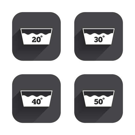 washable: Wash icons. Machine washable at 20, 30, 40 and 50 degrees symbols. Laundry washhouse signs. Square flat buttons with long shadow. Illustration