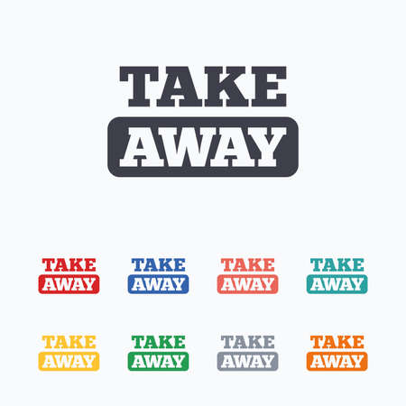 take away: Take away sign icon. Takeaway food or coffee drink symbol. Colored flat icons on white background.