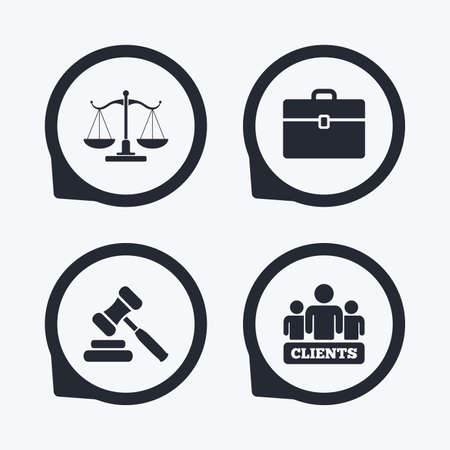 Scales of Justice icon. Group of clients symbol. Auction hammer sign. Law judge gavel. Court of law. Flat icon pointers.