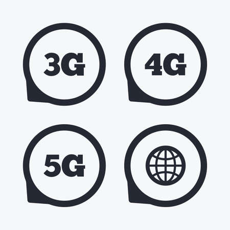 3g: Mobile telecommunications icons. 3G, 4G and 5G technology symbols. World globe sign. Flat icon pointers.