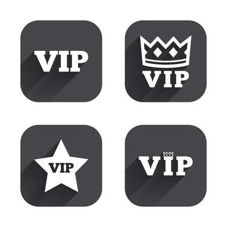 very important person: VIP icons. Very important person symbols. King crown and star signs. Square flat buttons with long shadow.
