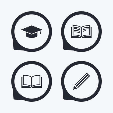 higher education: Pencil and open book icons. Graduation cap symbol. Higher education learn signs. Flat icon pointers. Illustration
