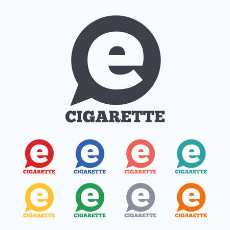 e cigarette: Smoking sign icon. E-Cigarette symbol. Electronic cigarette. Colored flat icons on white background.