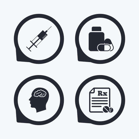 rx: Medicine icons. Medical tablets bottle, head with brain, prescription Rx and syringe signs. Pharmacy or medicine symbol. Flat icon pointers.