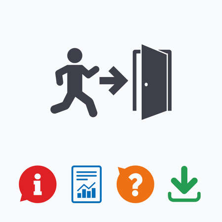 emergency exit sign icon: Emergency exit with human figure sign icon. Door with right arrow symbol. Fire exit. Information think bubble, question mark, download and report. Illustration