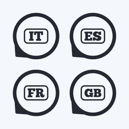 言語アイコン。それ、ES、FR、GB 翻訳のシンボル。イタリア、スペイン、フランス、イギリスの言語。フラット アイコン ポインター。