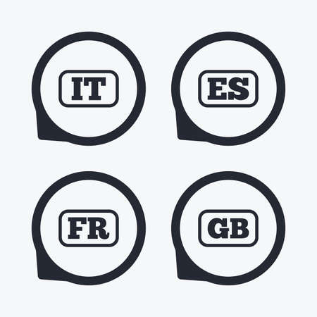Language icons. IT, ES, FR and GB translation symbols. Italy, Spain, France and England languages. Flat icon pointers. Illustration
