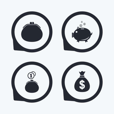 thrift: Wallet with cash coin and piggy bank moneybox symbols. Dollar USD currency sign. Flat icon pointers.
