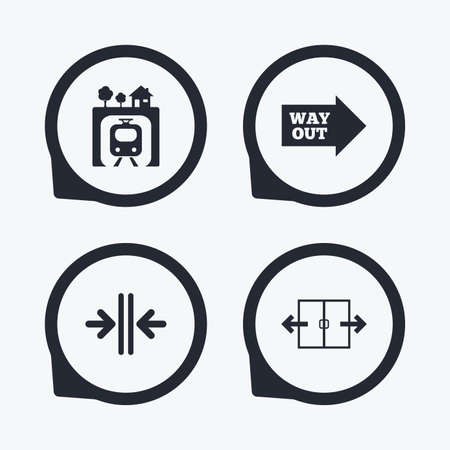 way out: Underground metro train icon. Automatic door symbol. Way out arrow sign. Flat icon pointers.