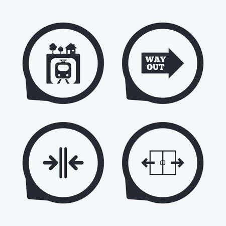 underground: Underground metro train icon. Automatic door symbol. Way out arrow sign. Flat icon pointers.