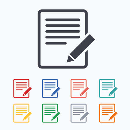 Edit document sign icon. Edit content button. Colored flat icons on white background.