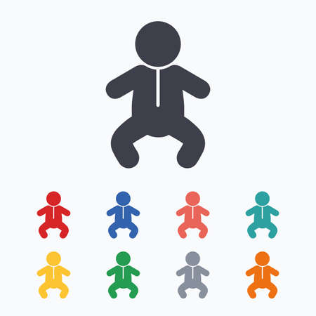 crawlers: Baby infant sign icon. Toddler boy in pajamas or crawlers body symbol. Child WC toilet. Colored flat icons on white background. Illustration