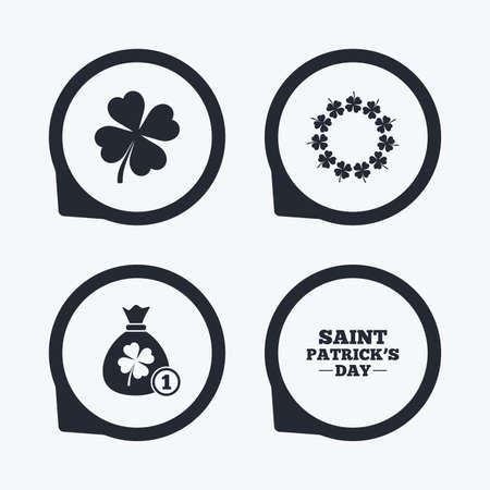 quatrefoil: Saint Patrick day icons. Money bag with coin and clover sign. Wreath of quatrefoil clovers. Symbol of good luck. Flat icon pointers.
