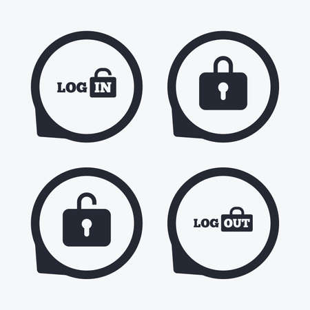 lock out: Login and Logout icons. Sign in or Sign out symbols. Lock icon. Flat icon pointers.