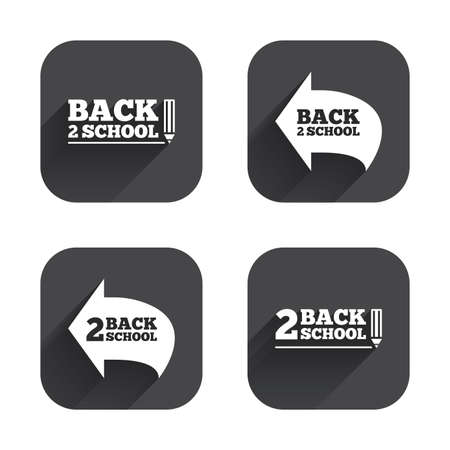 after school: Back to school icons. Studies after the holidays signs. Pencil symbol. Square flat buttons with long shadow.