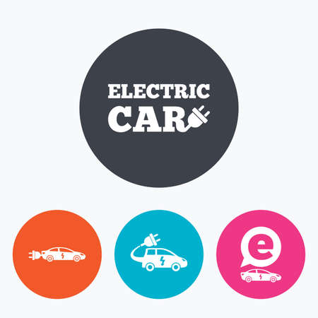 hatchback: Electric car icons. Sedan and Hatchback transport symbols. Eco fuel vehicles signs. Circle flat buttons with icon.