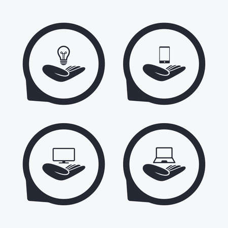 intellectual: Helping hands icons. Intellectual property insurance symbol. Smartphone, TV monitor and pc notebook sign. Device protection. Flat icon pointers.