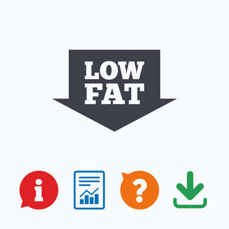 low fat: Low fat sign icon. Salt, sugar food symbol with arrow. Information think bubble, question mark, download and report.
