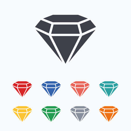 gems: Diamond sign icon. Jewelry symbol. Gem stone. Colored flat icons on white background.