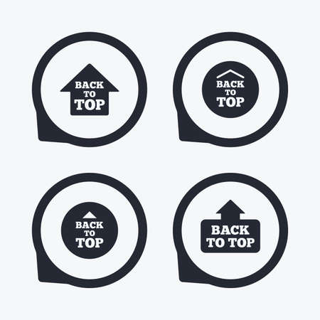 scroll up: Back to top icons. Scroll up with arrow sign symbols. Flat icon pointers. Illustration