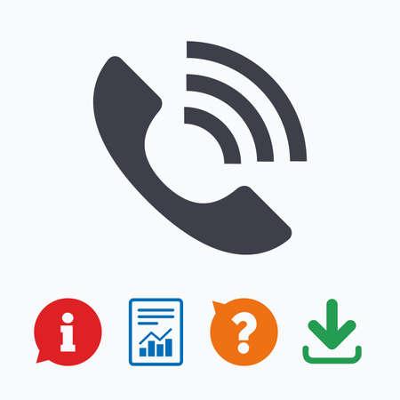 전화 기호 아이콘입니다. 지원 기호입니다. 콜센터. 정보는 거품, 물음표, 다운로드 및보고를 생각합니다.