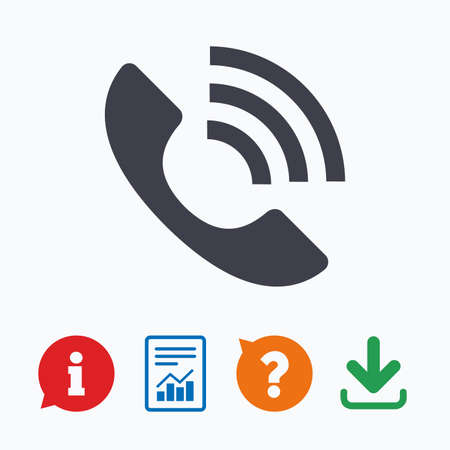 Phone sign icon. Support symbol. Call center. Information think bubble, question mark, download and report. Vettoriali