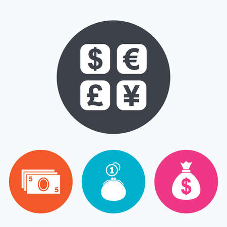 money exchange: Currency exchange icon. Cash money bag and wallet with coins signs. Dollar, euro, pound, yen symbols. Circle flat buttons with icon.