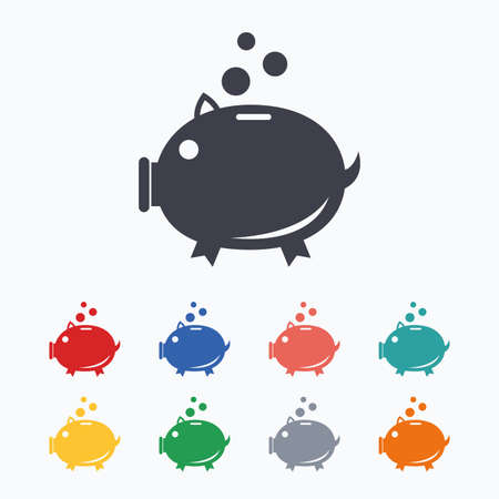 thrift: Piggy bank sign icon. Moneybox symbol. Colored flat icons on white background. Illustration