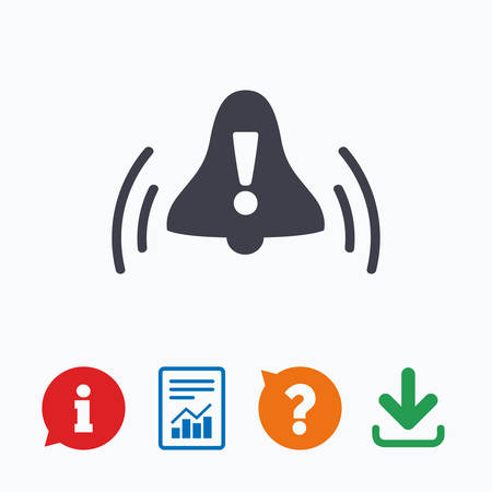 think up: Alarm bell with exclamation mark sign icon. Wake up alarm symbol. Information think bubble, question mark, download and report. Illustration