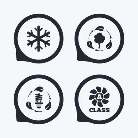 economy class: Fresh air icon. Forest tree with leaves sign. Fluorescent energy lamp bulb symbol. A-class ventilation. Air conditioning symbol. Flat icon pointers. Illustration