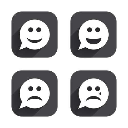 crying face: Speech bubble smile face icons. Happy, sad, cry signs. Happy smiley chat symbol. Sadness depression and crying signs. Square flat buttons with long shadow.