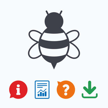 apis: Bee sign icon. Honeybee or apis with wings symbol. Flying insect. Information think bubble, question mark, download and report.