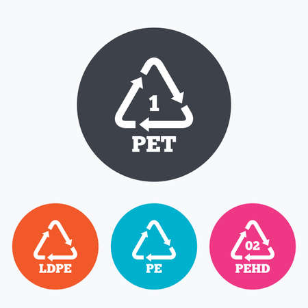 black pete: PET, Ld-pe and Hd-pe icons. High-density Polyethylene terephthalate sign. Recycling symbol. Circle flat buttons with icon. Illustration
