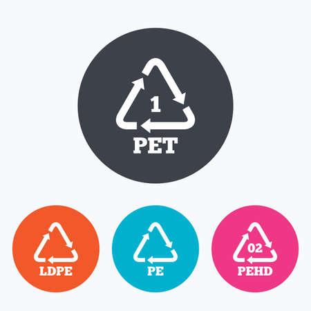PET, PE-LD en HD-pe iconen. High-density polyethyleen tereftalaat teken. Recycling symbool. Cirkel flat knoppen met het pictogram. Stock Illustratie