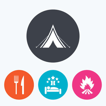 breakfast in bed: Food, sleep, camping tent and fire icons. Knife and fork. Hotel or bed and breakfast. Road signs. Circle flat buttons with icon.