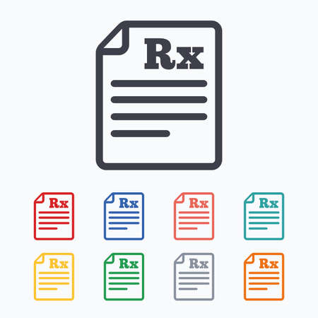 rx: Medical prescription Rx sign icon. Pharmacy or medicine symbol. Colored flat icons on white background.