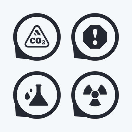 danger carbon dioxide  co2  labels: Attention and radiation icons. Chemistry flask sign. CO2 carbon dioxide symbol. Flat icon pointers. Illustration