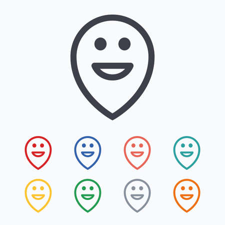smile icon: Happy face map pointer symbol. Smile icon. Colored flat icons on white background.