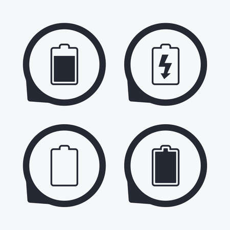 stored: Battery charging icons. Electricity signs symbols. Charge levels: full, empty. Flat icon pointers.