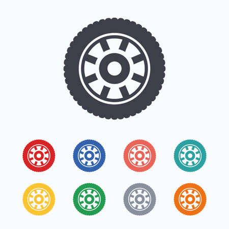 Car wheel sign icon. Circular transport component symbol. Colored flat icons on white background.