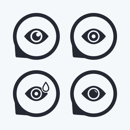eye drops: Eye icons. Water drops in the eye symbols. Red eye effect signs. Flat icon pointers. Illustration