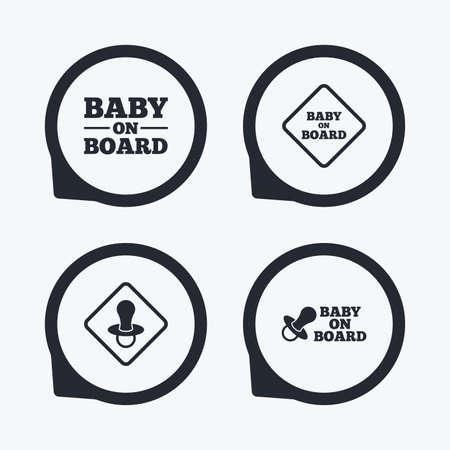 bebe a bordo: Beb� en iconos de mesa. se�ales de precauci�n para beb�. s�mbolo chupete pez�n. punteros icono planas. Vectores