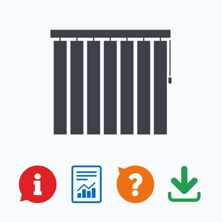 jalousie: Louvers vertical sign icon. Window blinds or jalousie symbol. Information think bubble, question mark, download and report. Illustration