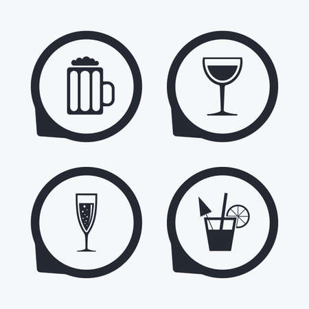 alcoholic drinks: Alcoholic drinks icons. Champagne sparkling wine with bubbles and beer symbols. Wine glass and cocktail signs. Flat icon pointers.