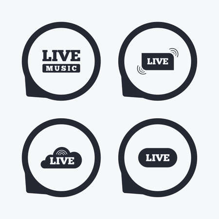 live stream sign: Live music icons. Karaoke or On air stream symbols. Cloud sign. Flat icon pointers.